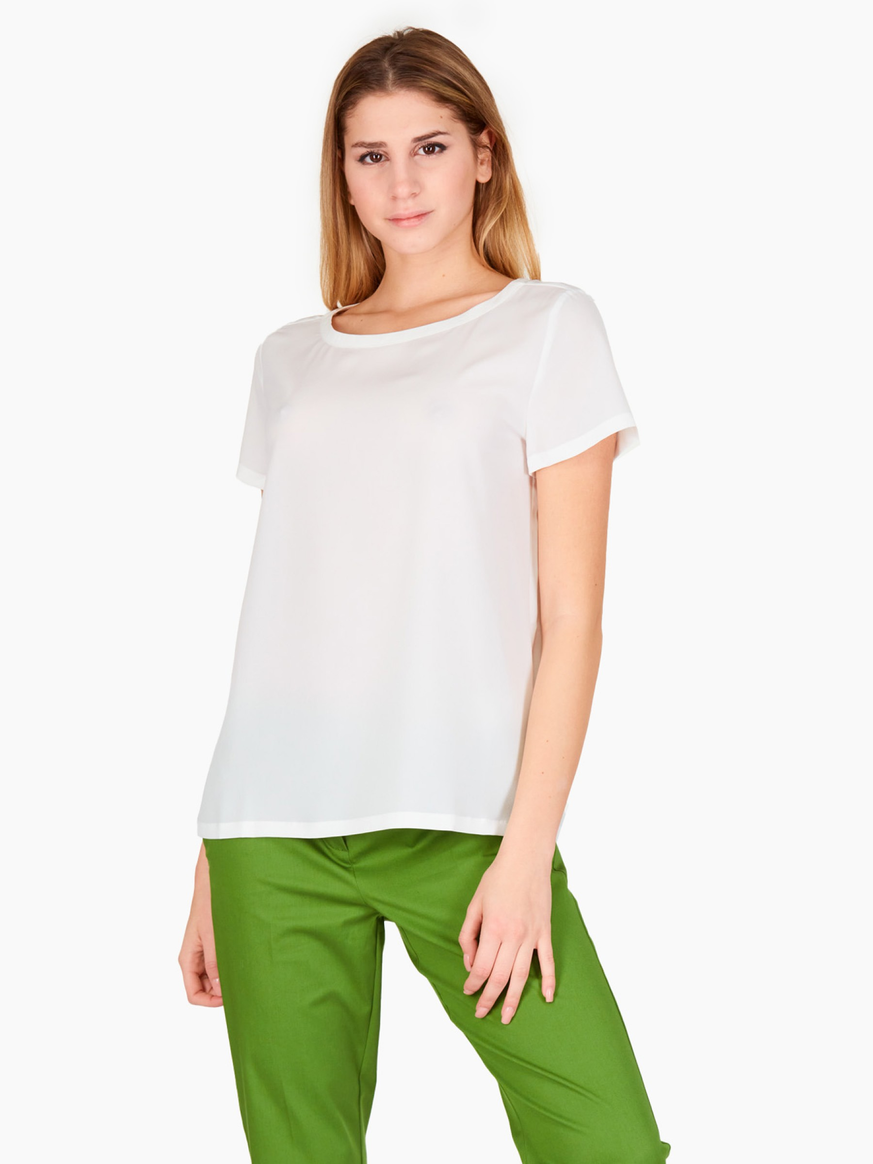 Emme Blusa in crepe PE2021 PALCO-001-BIANCO