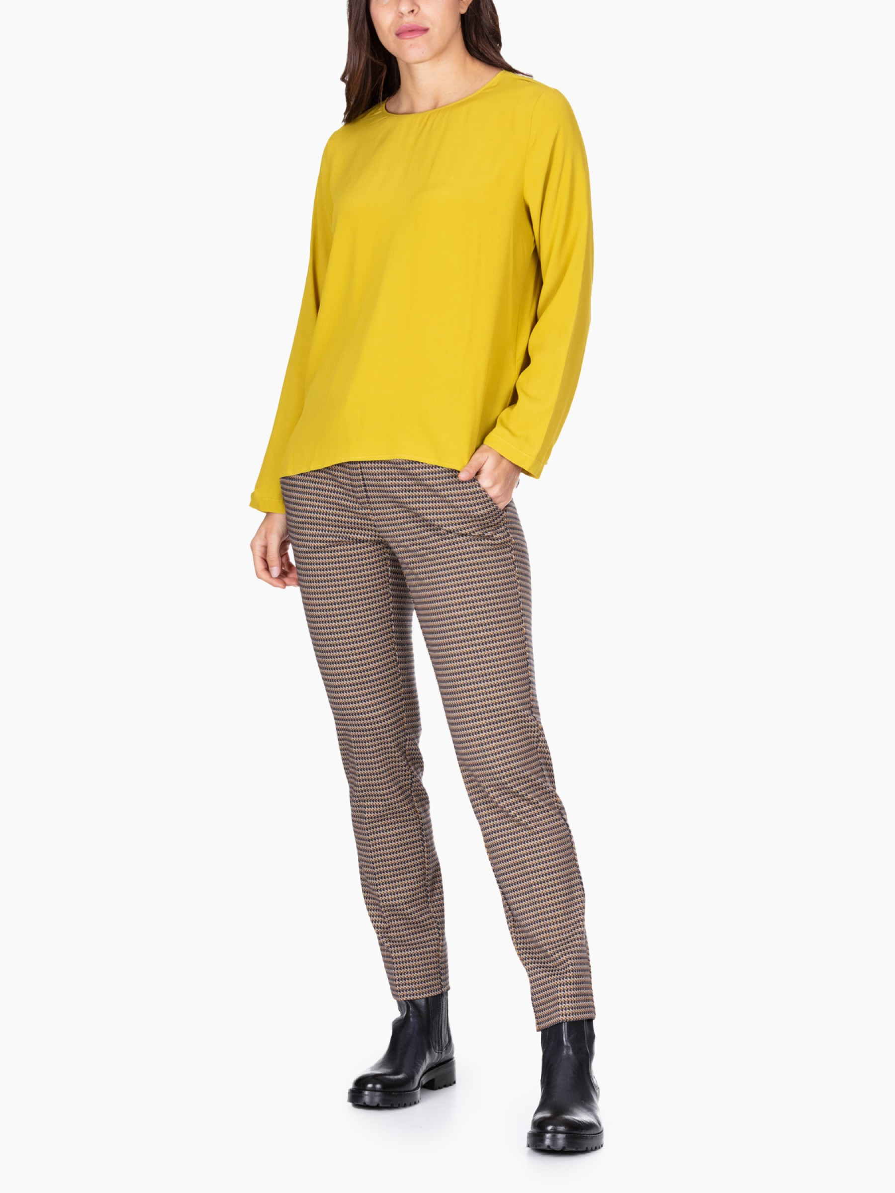 Emme Blusa in crepe AI2020 RAY-004-GIALLO-ACIDO